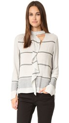 Derek Lam Long Sleeve Ruffle Blouse Grey Multi