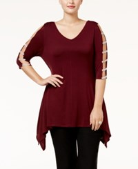 Belldini Plus Size Embellished Handkerchief Hem Tunic Black Cherry