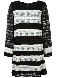 Twin Set Striped Knit Dress Black