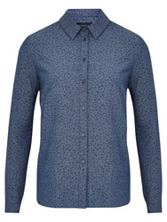 Viyella Ditsy Cotton Shirt Indigo