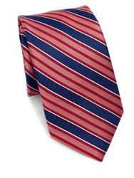 Saks Fifth Avenue Collection Bold Stripe Silk Tie Red Blue