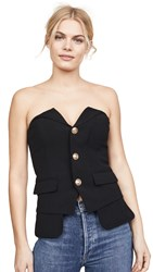Laveer Button Up Bustier Top Black