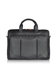 Giorgio Fedon 1919 Web File 2 Black Leather And Nylon Men's Briefcase