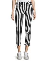 Rag And Bone Benton Bengal Stripe Capri Jeans Black White Black Pattern