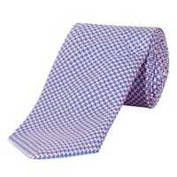 Jaeger Houndstooth Class Tie Blue Pink