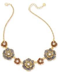 Charter Club Gold Tone Multi Stone Flower Statement Necklace 17 2 Extender Created For Macy's