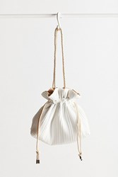 Urban Outfitters Woven Pleated Drawstring Pouch White