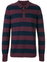 Wolsey Striped Longlseeved Polo Shirt Pink And Purple