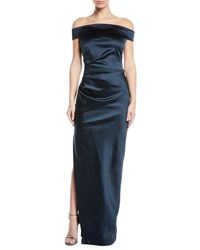Milly Ally Off The Shoulder Gown In Satin Navy