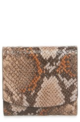 Nordstrom Olivia Python Print Leather Trifold Wallet Beige Cosmetic Snake
