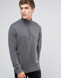 Selected Homme Roll Neck Knit With Zip Neck Detail Mid Grey