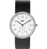 Braun Bn0024 Stainless Steel And Leather Watch Black