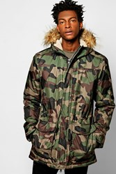 Boohoo Print Parka Jacket With Faux Fur Hood Camo
