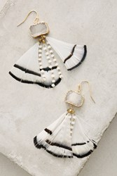 Anthropologie Feathered Druzy Earrings Black White