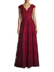 Adrianna Papell Lace V Back Gown Crimson