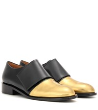 Marni Metallic Leather And Leather Monk Shoes Black