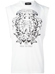 Dsquared2 Tattoo Graphic Sleeveless T Shirt White