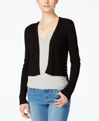 Material Girl Juniors' Cropped Lace Up Shrug Only At Macy's Caviar Black