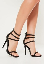 Missguided Black Multi Strap Barely There Heels