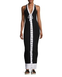 Fenty Puma By Rihanna Ribbed Lace Front Maxi Dress Black White