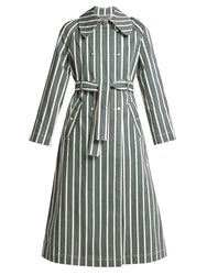 Alexachung Striped Cotton Blend Trench Coat Green Stripe