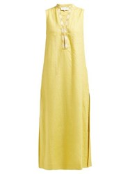 Zeus Dione Persephone Embroidered Linen Midi Dress Yellow