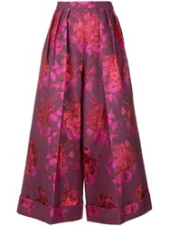 Delpozo Floral Embroidered Cropped Trousers Pink And Purple