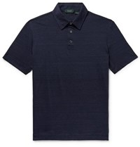 Incotex Slim Fit Striped Linen And Cotton Blend Polo Shirt Navy