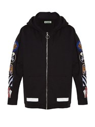 Off White Patches Applique Hooded Sweatshirt Black Multi