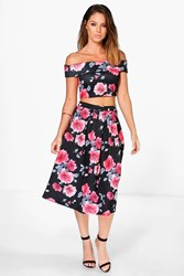 Boohoo Off The Shoulder Dark Floral Crop And Midi Skirt Co Ord Multi