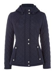 Weatherproof Hooded Quilted Jacket With Inner Drawcord Navy