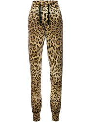 Dolce And Gabbana Leopard Print Track Pants Brown