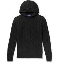 Ralph Lauren Purple Label Slim Fit Cable Knit Cashmere Hoodie Charcoal