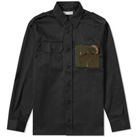 Gosha Rubchinskiy Gabardine Military Pocket Shirt Black