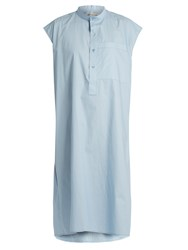 Balenciaga Cotton Poplin Sleeveless Dress Light Blue