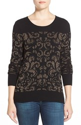 Petite Women's Halogen Embellished Crewneck Sweater Black Metallic Pattern