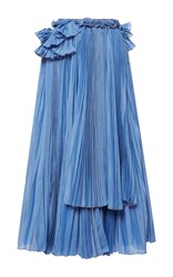 Rochas Pleated Skirt With Ruffle Detail Blue