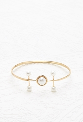 Forever 21 Faux Pearl Bangle Set Gold Cream