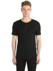 John Varvatos Ribbed Cotton Jersey Henley T Shirt