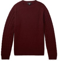 Dunhill Cable Knit Cashmere Sweater Burgundy