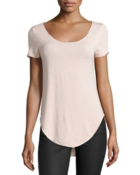 Dex Scoop Neck Shirttail Hem Tee Nude Peach
