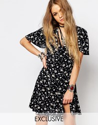 Reclaimed Vintage Button Front Mini Tea Dress With Ruffle Detail In Floral Print Black