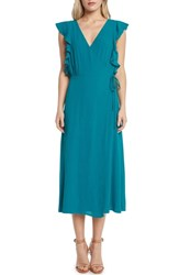 Willow And Clay Solid Wrap Midi Dress Teal