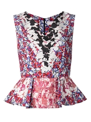 Peter Pilotto Printed Peplum Top Pink And Purple