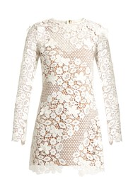 Self Portrait Floral Guipure Lace Mini Dress White