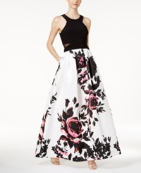 Xscape Evenings Floral Print Ball Gown Black Floral