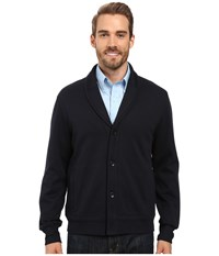Perry Ellis Shawl Button Front Mix Media Cardigan Dark Sapphire Men's Sweater Blue