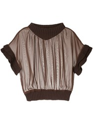 Aula Ribbed Trim Mesh Top Polyester Cotton Acrylic Brown