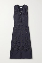 Miguelina Alexia Belted Crochet Trimmed Cotton And Linen Blend Midi Dress Midnight Blue