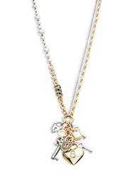 Rj Graziano Faux Pearl Accented Charm Pendant Necklace Grey